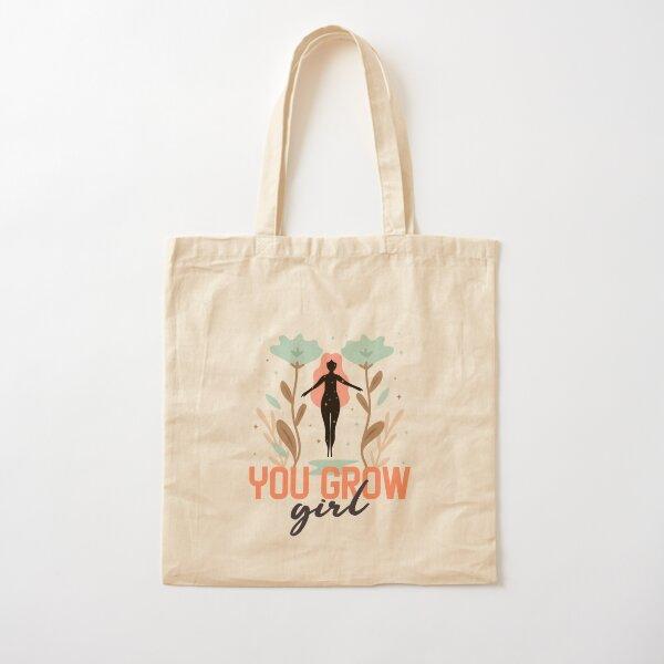 You Grow Girl Flower Theme Cotton Tote Bag