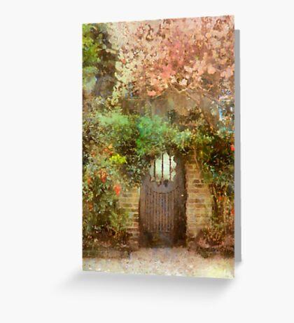 Garden Gate Under Cherry Tree - Charleston SC Greeting Card