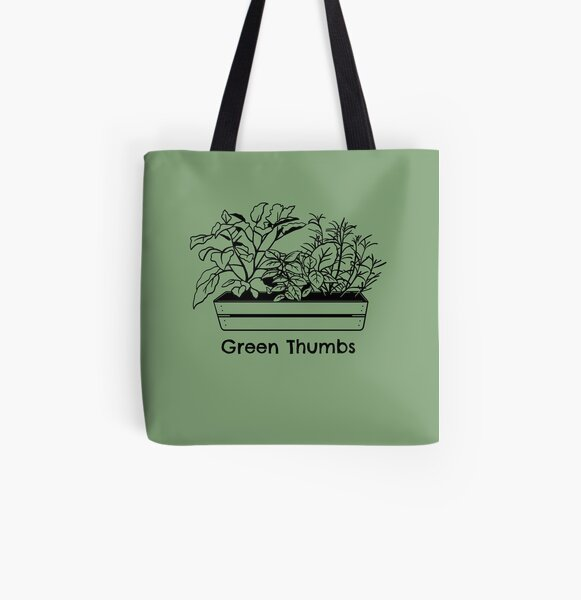 Green Thumbs Flower Garden Theme All Over Print Tote Bag