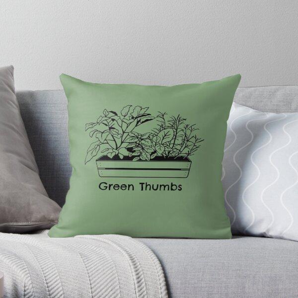 Green Thumbs Flower Garden Theme Throw Pillow