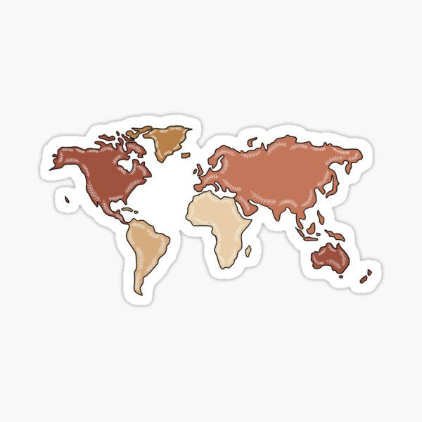Boho World Map with Leaves Sticker