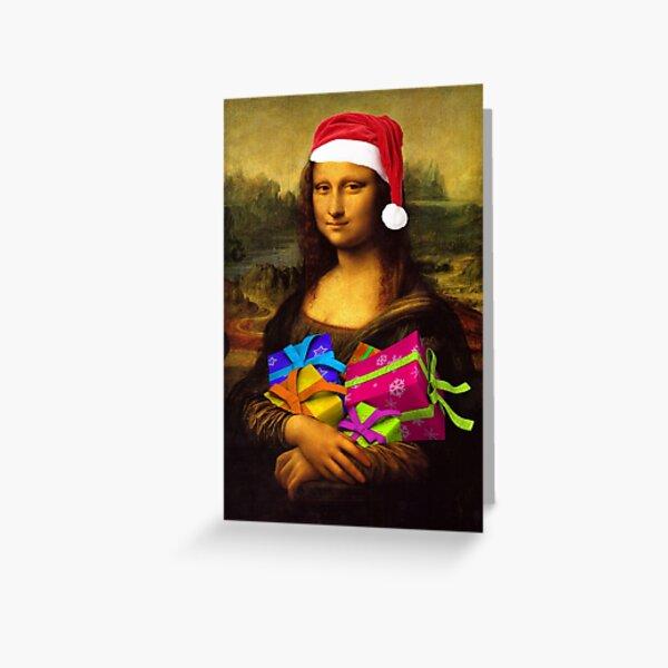 Santa Mona Lisa Greeting Card