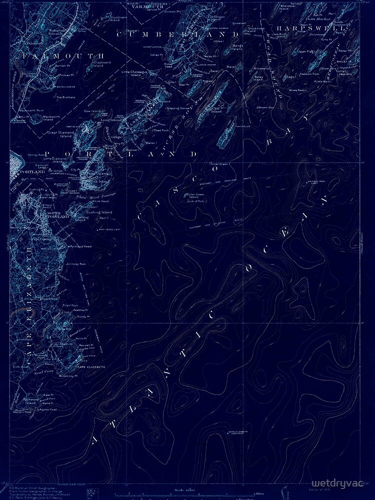 Maine USGS Historical Map Casco Bay 460288 1916 62500 Inversion by wetdryvac