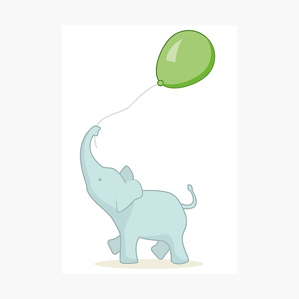 Baby Elephant with Green Balloon Photographic Print
