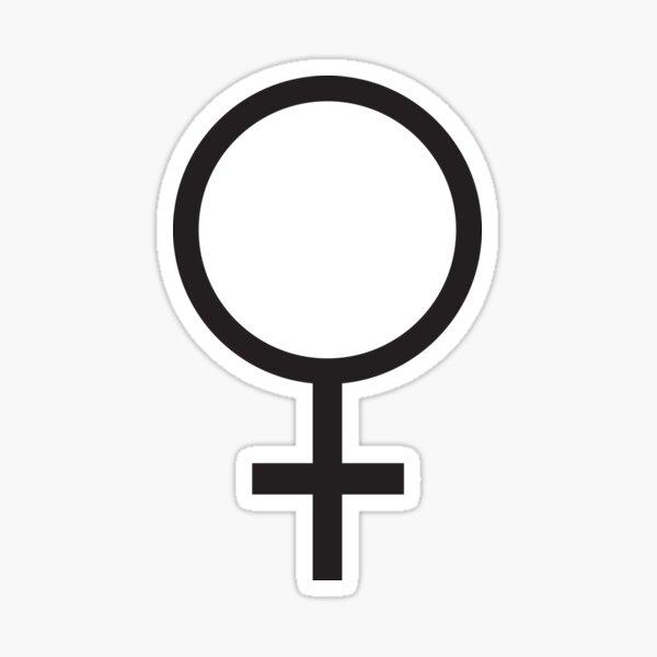 FEMALE. WOMEN, WOMAN, SHE, Venus symbol, FEMININE, Gender symbol, Sex, sex of an organism, Black. Sticker