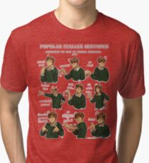 Popular Italian Gestures brought to you by Italia Romano Tri-blend T-Shirt