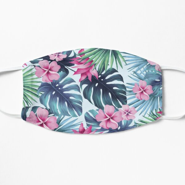 Tropical Pink And Green Floral Hibiscus Flowers  Flat Mask