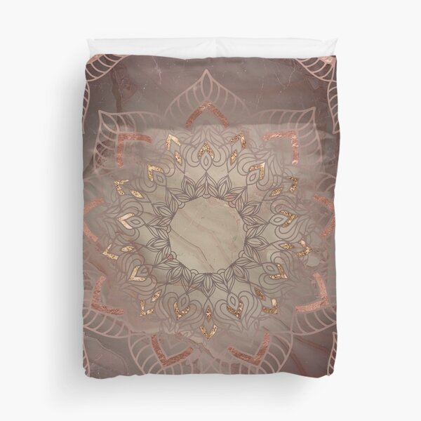 Warm copper rose gold and dusty pink mandala Duvet Cover
