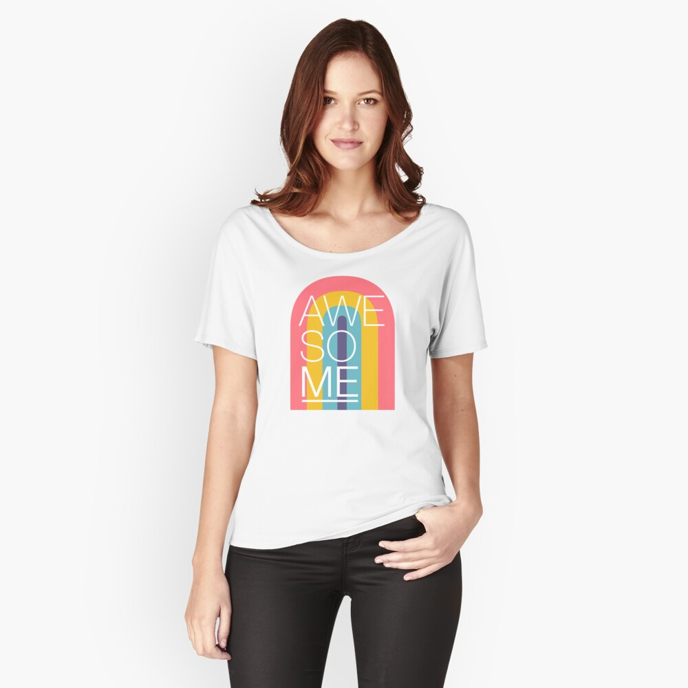 Awesome ME Rainbow on White Relaxed Fit T-Shirt