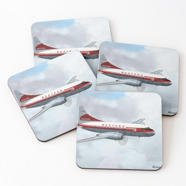 Western Airlines Convair 240 Coasters (Set of 4)