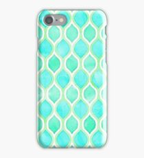 Watercolor pattern in Aqua, Lime & Mint on White iPhone Case/Skin