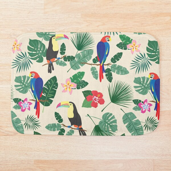 Busy Tropics Print Bath Mat