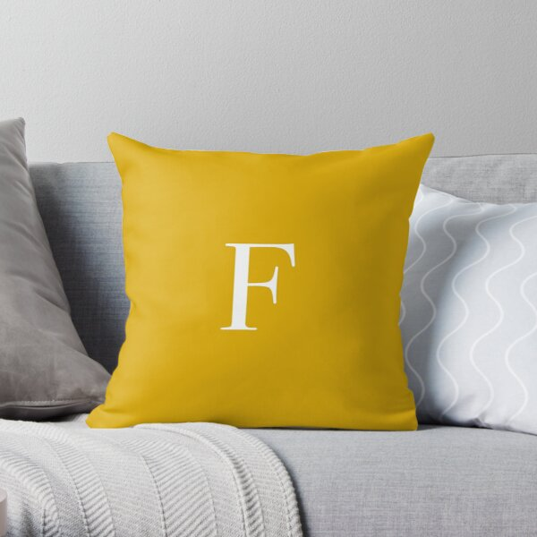 "The Letter ""F"" - Mustard Yellow Throw Pillow"