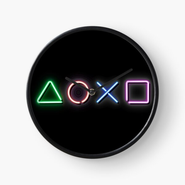 Neon PlayStation Buttons Clock