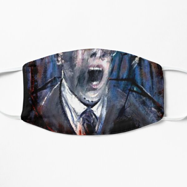 Francis Bacon Screaming Business man in suit office angst existential painting art lover gift t shirt or mask Flat Mask