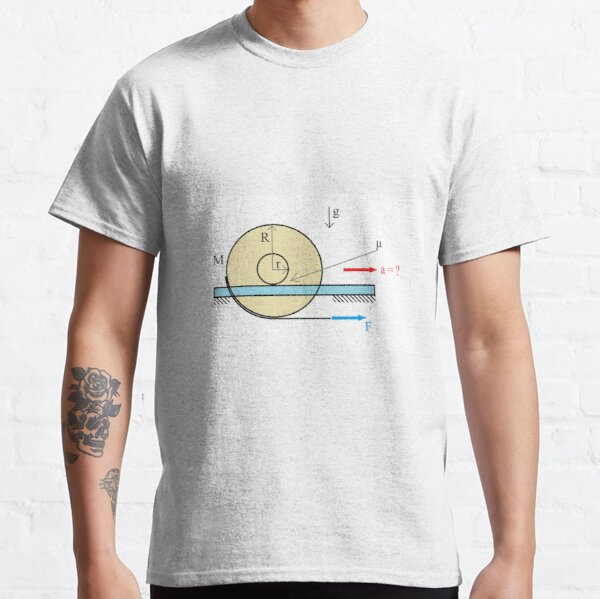 Physics Problem: Find the acceleration of the center of the disc Classic T-Shirt
