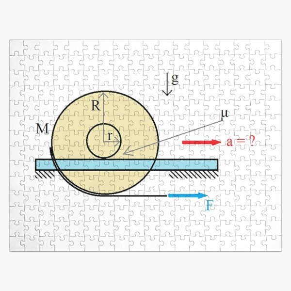 Physics Problem: Find the acceleration of the center of the disc Jigsaw Puzzle