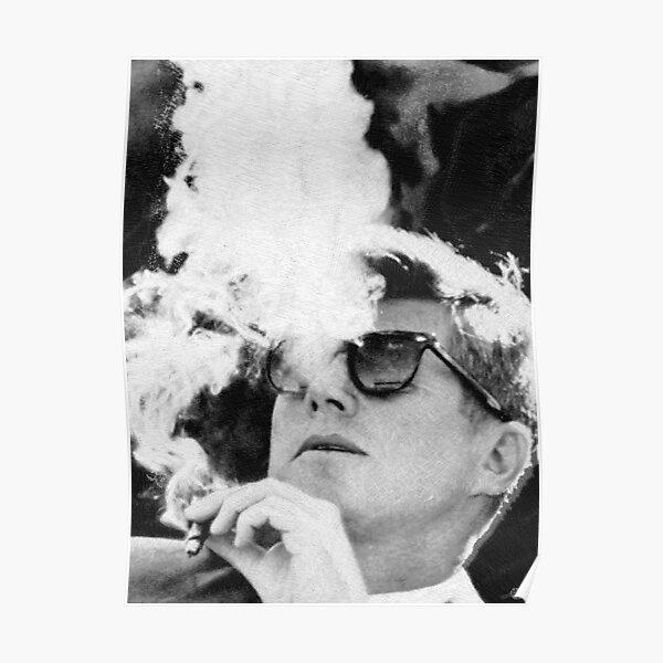 John F Kennedy Cigar And Sunglasses Black And White JFK Poster