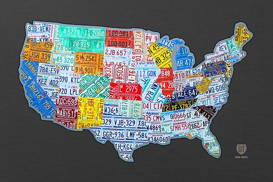 License Plate Map of The United States On Gray\