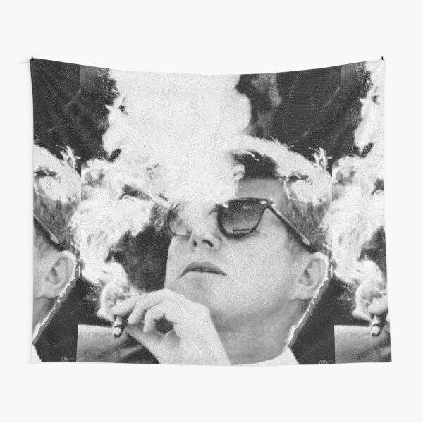John F Kennedy Cigar And Sunglasses Black And White JFK Tapestry