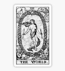 The World Tarot Card - Major Arcana - fortune telling - occult Sticker