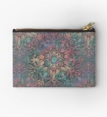 Winter Sunset Mandala in Charcoal, Mint and Melon Studio Pouch