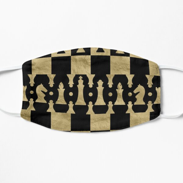 Chess Pieces Pattern - black and gold Flat Mask