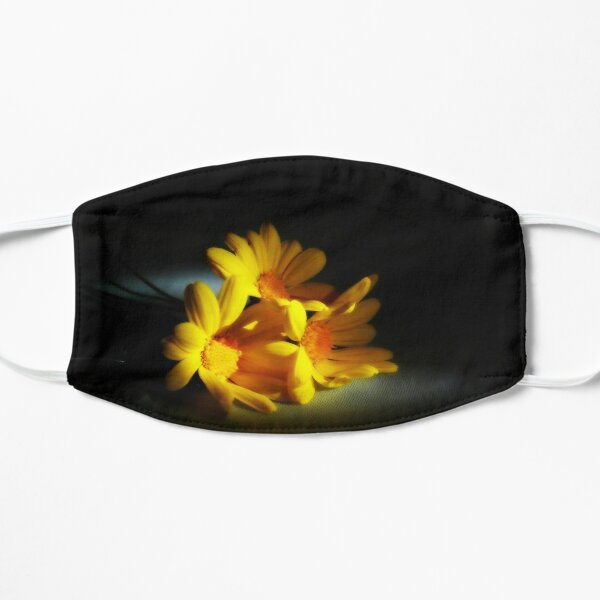 yellow daisies, cut flowers in the dying light Flat Mask