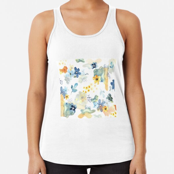 Blue and Yellow Cheerful Flowers Racerback Tank Top