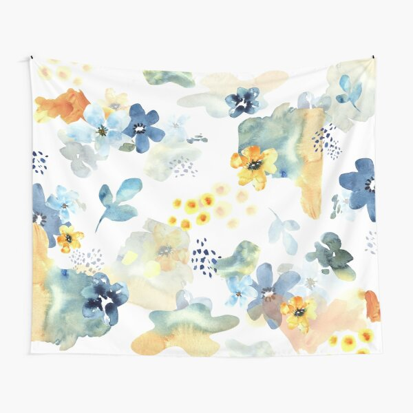 Blue and Yellow Cheerful Flowers Tapestry