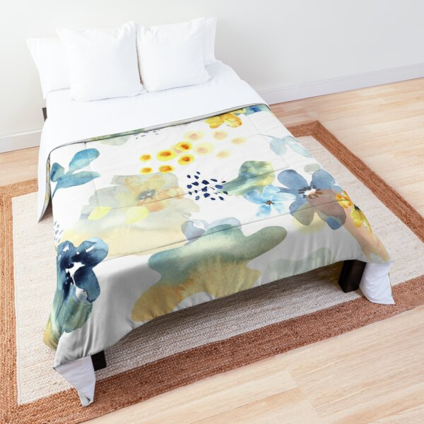 Blue and Yellow Cheerful Flowers Comforter