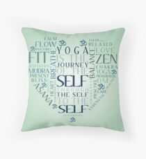 Yoga Heart Word Cloud Throw Pillow