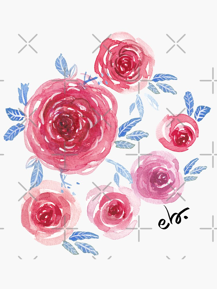 Watercolour roses in blue by ebozzastudio