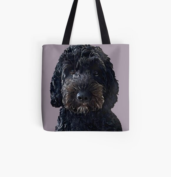 Black Cockapoo Dog All Over Print Tote Bag