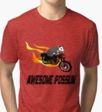 Possum Opossum riding Flaming Motorcycle Tri-blend T-Shirt
