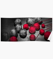 Red balls of thread Poster