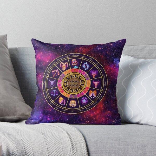 Aquarius Zodiac Lightburst - Circle Throw Pillow