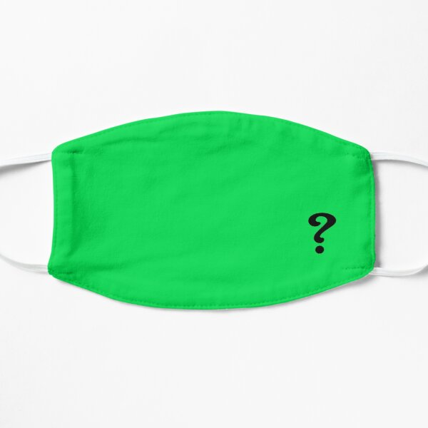 Question Mark Riddle Green Face Mask - Comic Book Flat Mask