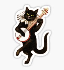 Funny Vintage Cat Dancing and Playing Banjo Sticker