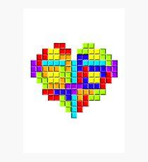Tetris Block Heart Photographic Print
