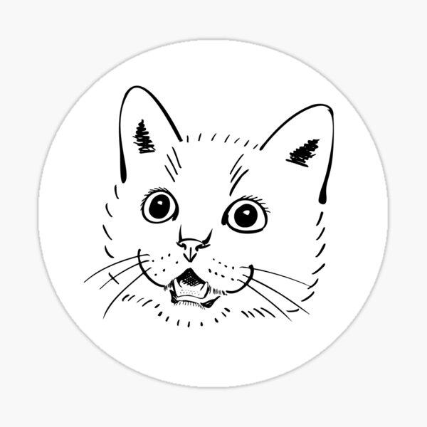 Minimalist Cat is Shocked!  Sticker