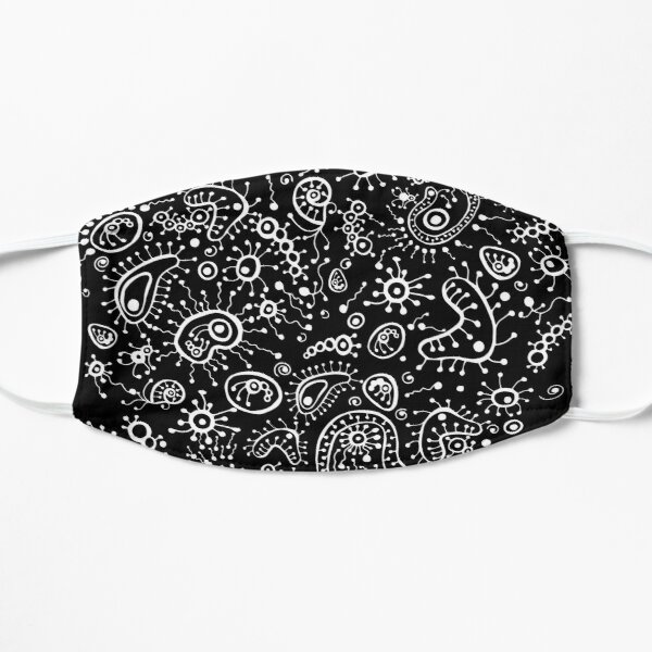 Doodle illustration microscope. Microbes under a microscope. Hand drawn microscope and microbes. Mask
