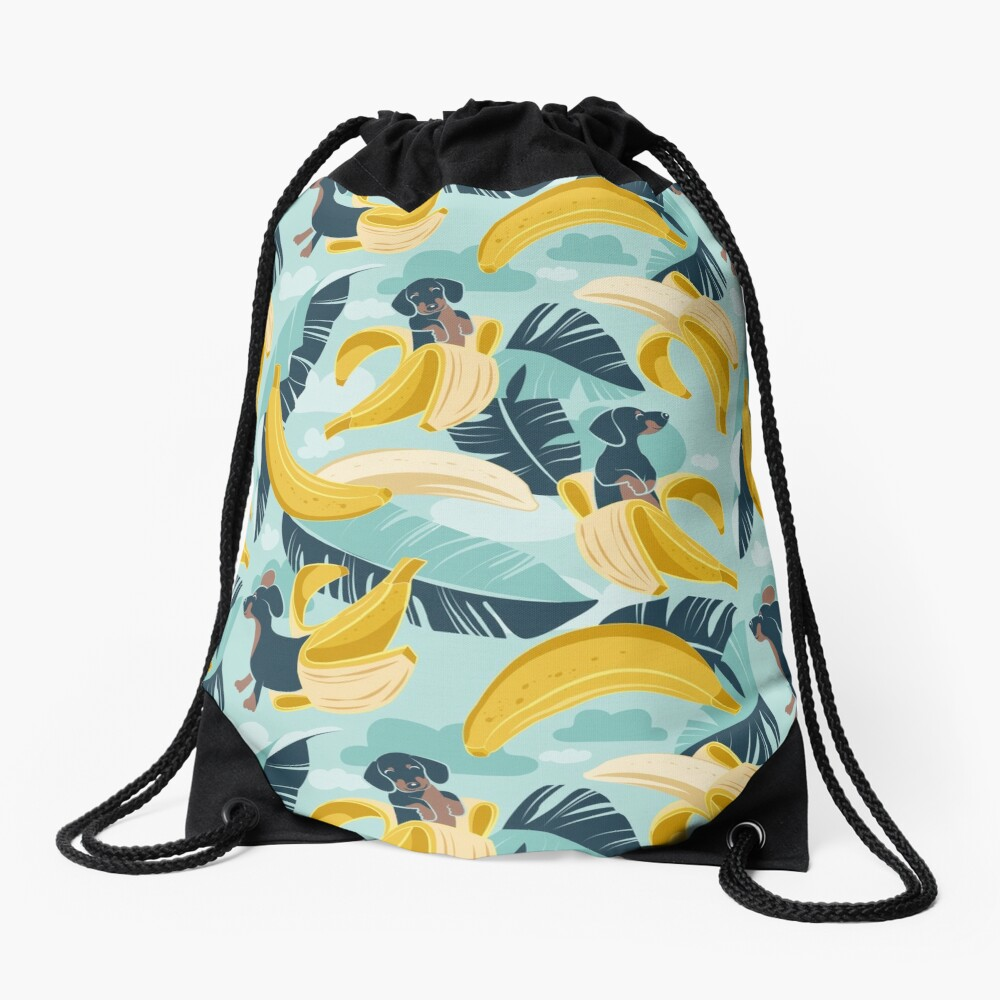 Surrealistic tropical Dachshund bananas // aqua background navy blue dogs and banana fruit leaves Drawstring Bag
