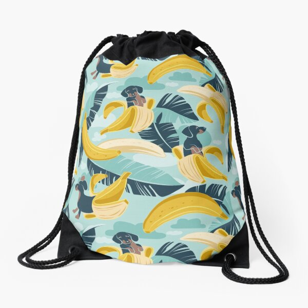 Surrealistic tropical Dachshund bananas // aqua background navy blue dogs and banana fruit leaves Drawstring Bag