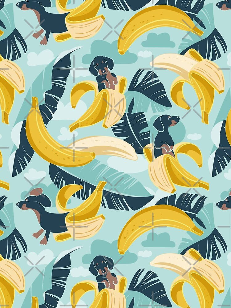 Surrealistic tropical Dachshund bananas // aqua background navy blue dogs and banana fruit leaves by SelmaCardoso