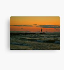Lake Michigan Pier with People Canvas Print