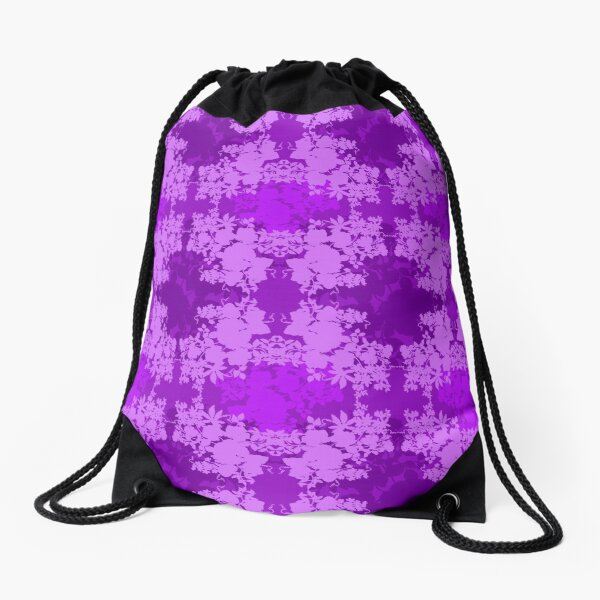 Layered Graphic Floral Silhouette Design Drawstring Bag