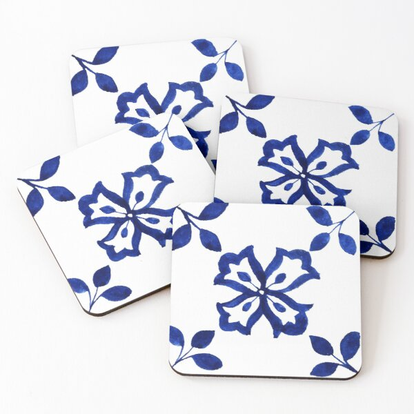 Azulejo Portuguese Tile Watercolor Artwork 1 Coasters (Set of 4)