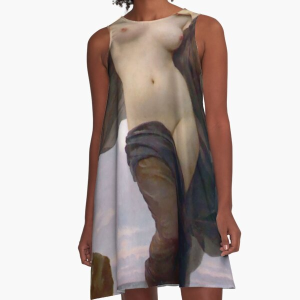 Evening Mood painting by William-Adolphe Bouguereau A-Line Dress