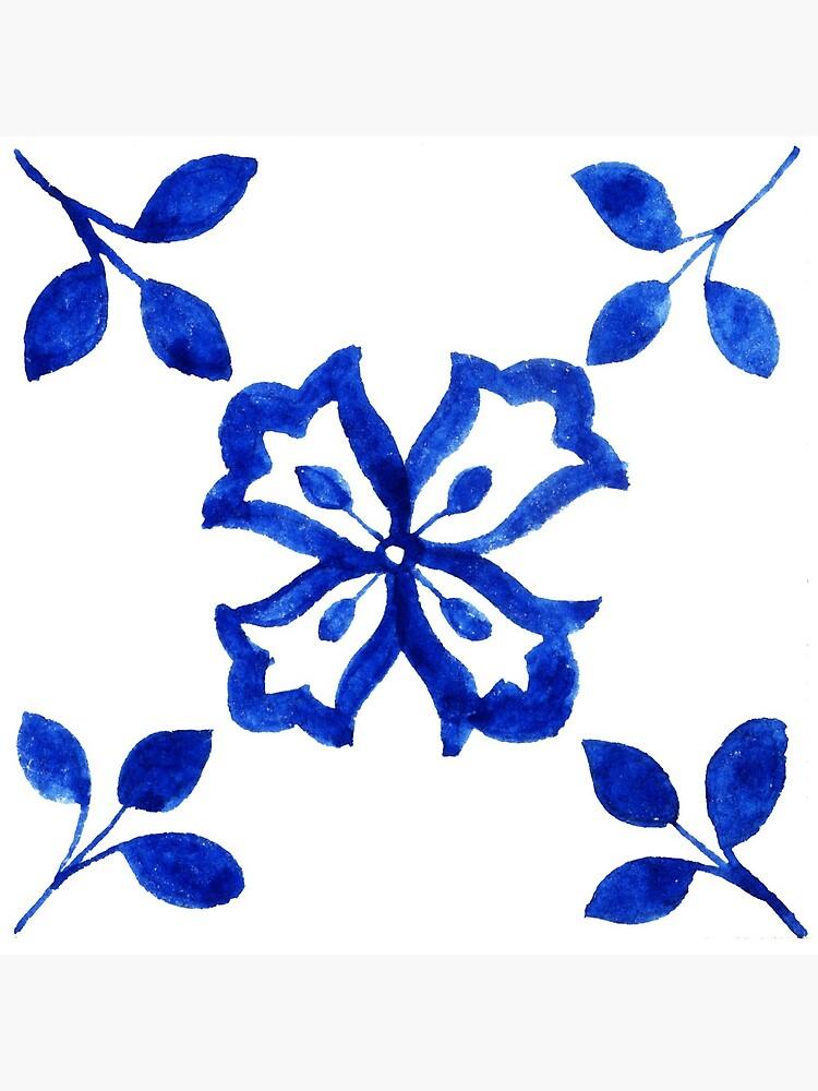 Azulejo Portuguese Tile Watercolor Artwork 9 by ilonitta